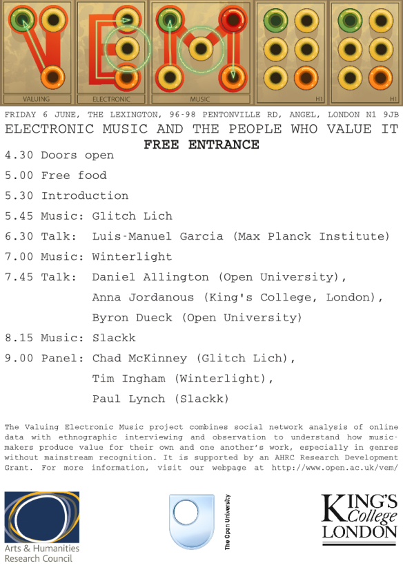 Poster for Valuing Electronic Music event, 6 June