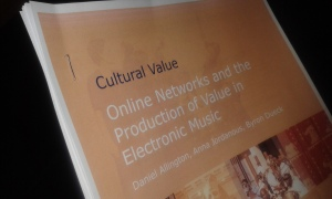 Hardcopy of report: Online Networks and the Production of Value in Electronic Music